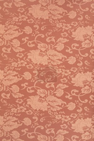 Photo for Floral brown wallpaper texture background, high detail fabric - Royalty Free Image