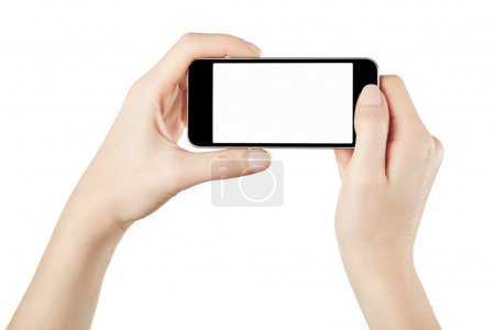 Smartphone in female hands taking photo