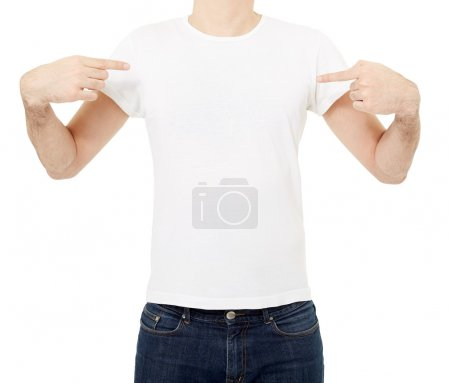 Photo for Man pointing at white blank t-shirt isolated on white, clipping path included - Royalty Free Image