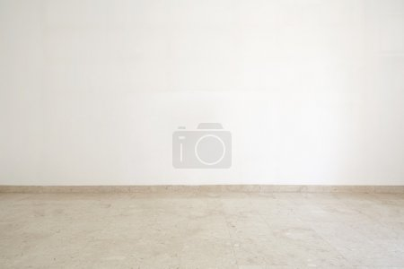 Photo for Empty room with marble floor and white wall - Royalty Free Image