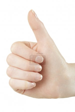 Woman hand thumbs up, like