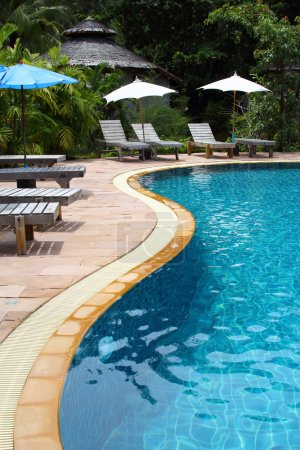 Swimming pool and watwer flowing