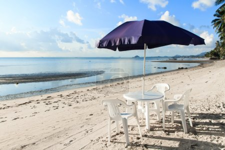 Photo for Beach chairs and umbrellas on beautiful tropical sand beach,Thailand - Royalty Free Image