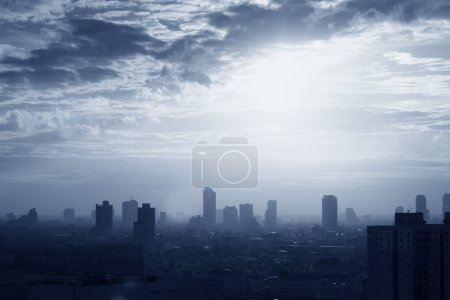 Photo for Building in big city at dusk - Royalty Free Image