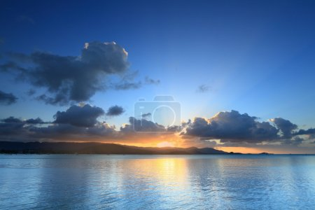 Photo for Panoramic dramatic tropical sunset sky and sea at dusk - Royalty Free Image