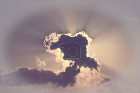 Sky cloud and golden sunbeam in vintage style