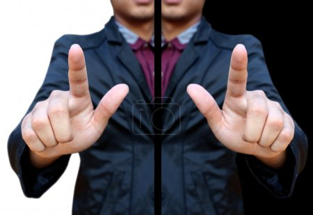 Photo for Business man pointing finger isolated on black and white - Royalty Free Image