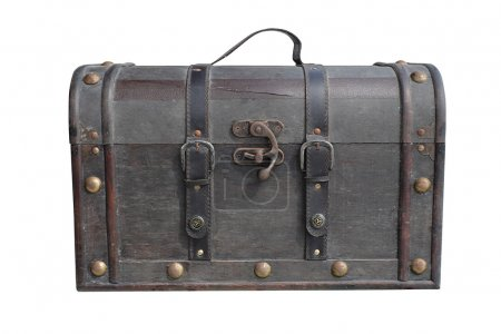 Photo for Old vintage leather luggage isolated with clipping path - Royalty Free Image