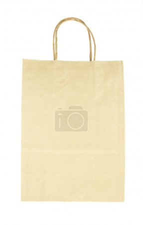 Brown paper bag front view isolated on white background
