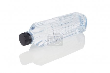 Bottle of drinking water with shadow isolated on white