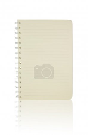 Open notebook with shadow isolated on white