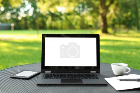 Photo for Laptop with blank screen outdoors - Royalty Free Image