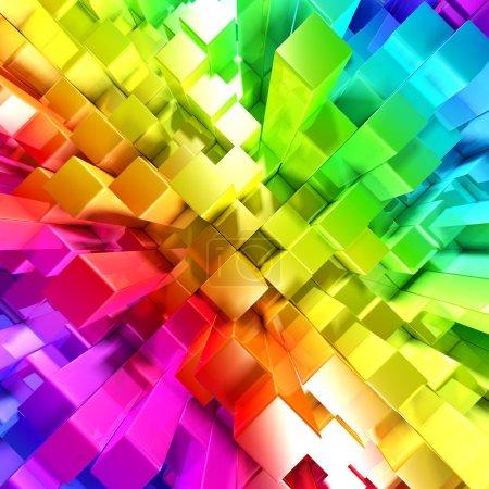 Foto de Arco iris de bloques de colores - Imagen libre de derechos