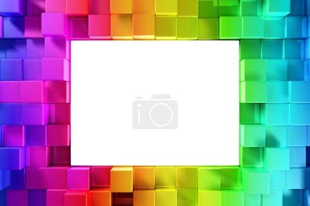 Photo pour Arc-en-ciel de blocs colorés avec espace vide - image libre de droit