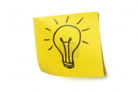 Lightbulb on sticky note
