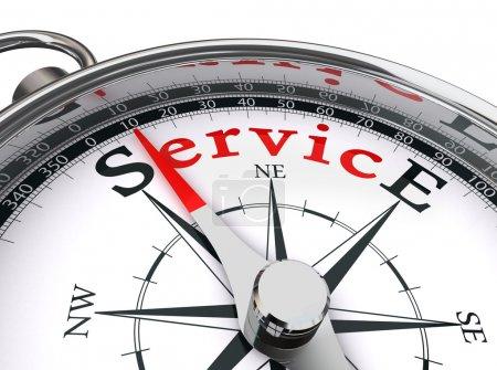 Photo pour Service mot rouge indiqué par l'image conceptuelle boussole sur fond blanc - image libre de droit