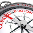 Communication red word on conceptual compass isola...