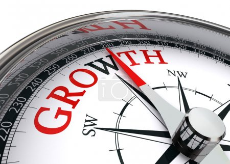Photo for Growth red word on concept compass on white background - Royalty Free Image