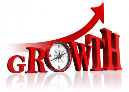 Photo for Growth red word with compass and arrow on white background. clipping path included - Royalty Free Image