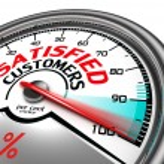 Satisfied customers conceptual meter indicating hu...