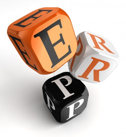 Photo for Enterprise Resource Planning System orange black dice blocks on white background. clipping path included - Royalty Free Image