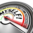 Myself evaluation conceptual meter, isolated on wh...