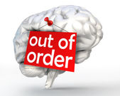 Mental problem out of order red sign on human brain