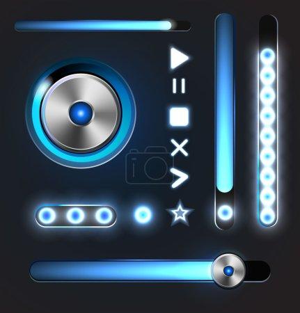 Botones de metal brillante ecualizador y reproductor con barra de seguimiento .
