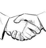 Hand shake sketch illustration