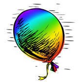Bright rainbow party balloon with ribbon Colorful hand drawing cartoon sketch illustration in childish doodle style