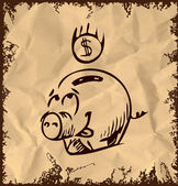 Money pig cartoon icon isolated on vintage background Hand drawing sketch vector illustration