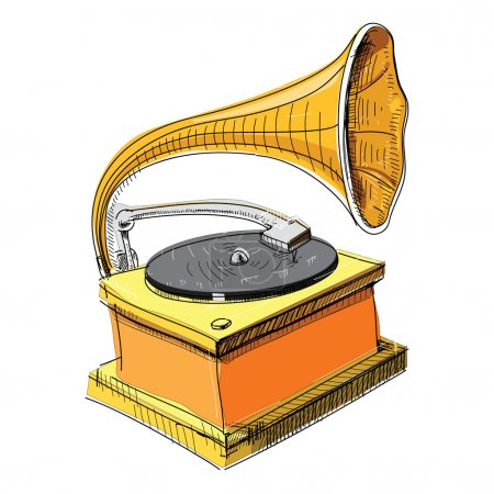 Illustration for Vintage Gramophone, Record player - Royalty Free Image