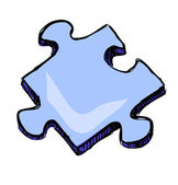 Blue puzzle piece isolated on white background Sketch vector icon
