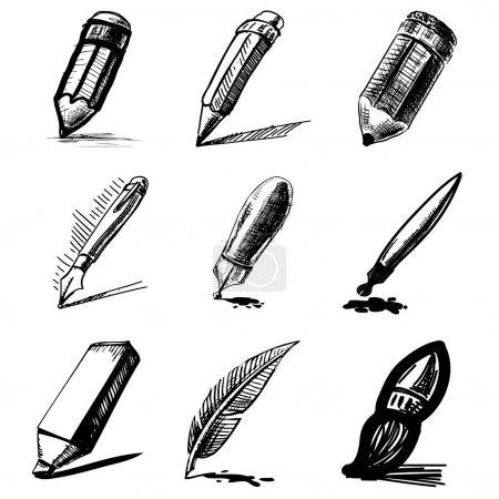 Illustration for Pens and pencils collection .Hand drawing sketch vector set - Royalty Free Image