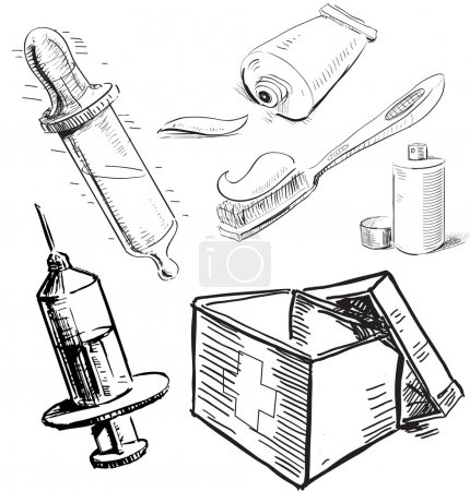 Illustration for Medical stuff set. Sketch hand drawing vector objects isolated on white background - Royalty Free Image