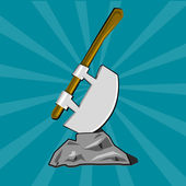 Poleaxe stuck into stone Cartoon vector illustration