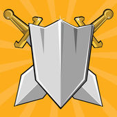Two crossed swords and shield Cartoon vector illustration