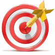 Red darts target aim and arrow. Successful shoot. ...
