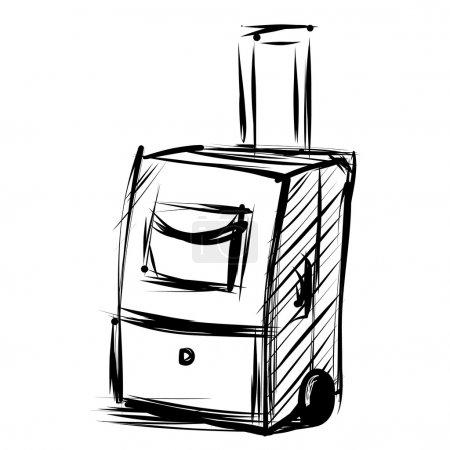 Illustration for Travel bag on wheels. Sketch vector illustration - Royalty Free Image
