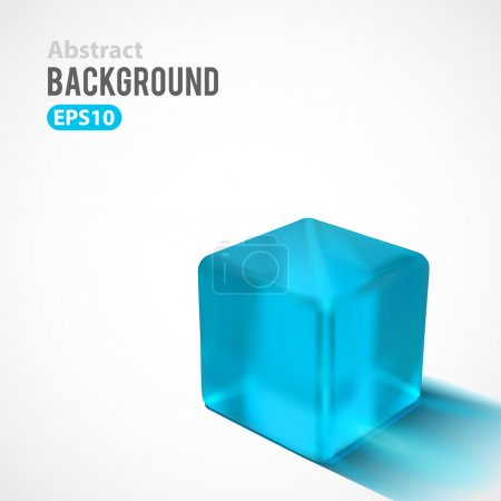 Illustration for Abstract vector background. Transparent glossy cube with drop shadow - Royalty Free Image