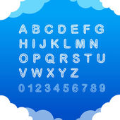 Sketch doodle cloudy font on blue background
