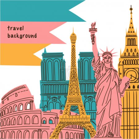 Bright background with world wide famous landmarks.