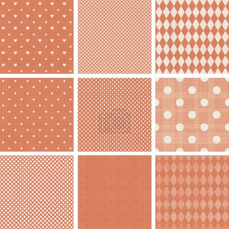 Illustration for Set of faded blue retro polka dot seamless patterns - Royalty Free Image