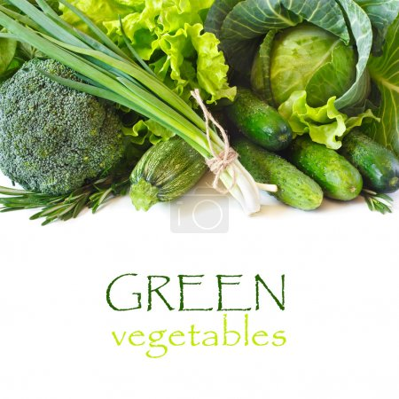 Photo for Fresh green vegetables on a white background. - Royalty Free Image