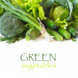Fresh green vegetables on a white background....