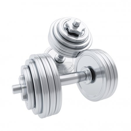 Silver metal dumbbells, one on another