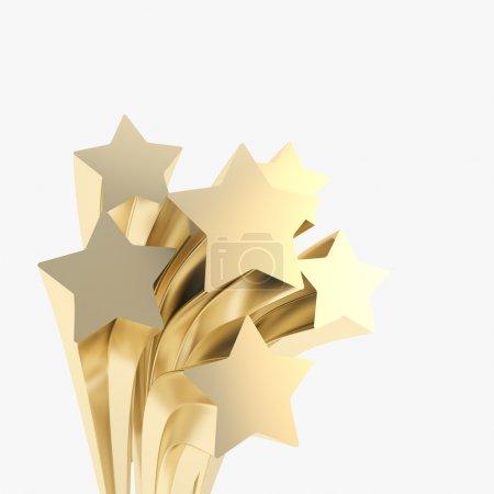 Foto de Estrellas doradas extruidas sobre fondo de copyspace festivo - Imagen libre de derechos
