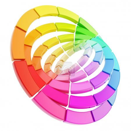 Color range spectrum circle round palette composition