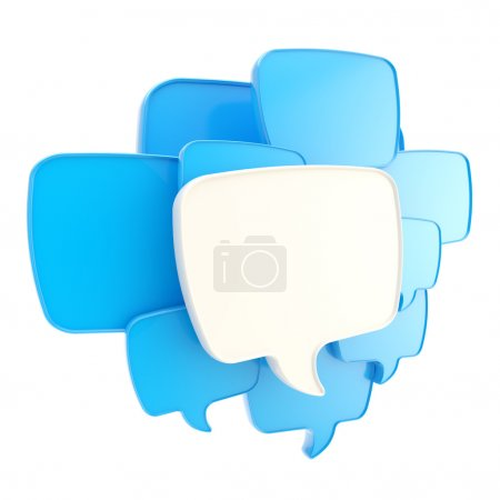Photo for Cloud group of speech text bubbles blue composition as copyspace banner plate isolated on white - Royalty Free Image