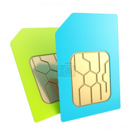 Dounble phone SIM cards with circuit microchips isolated